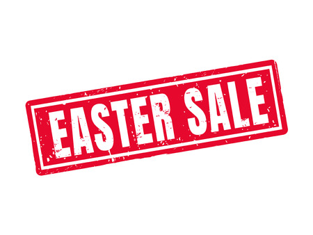 Easter sale in red stamp style Illustration