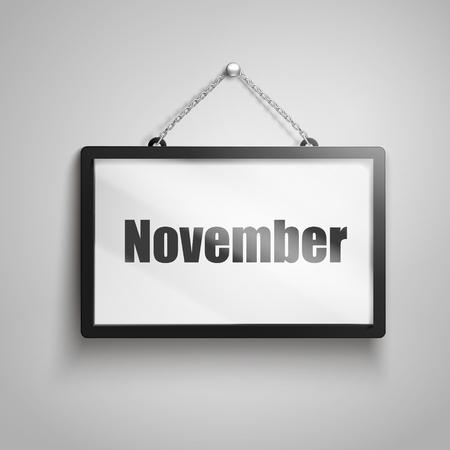November-tekst bij het hangen van teken, 3d illustratie