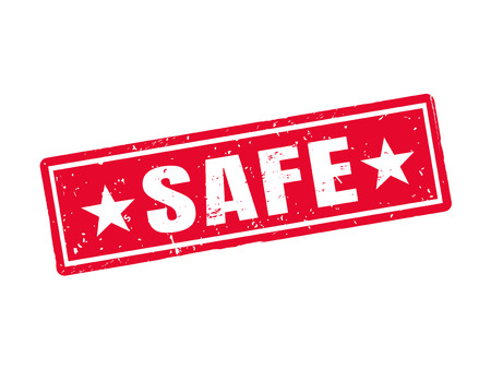 Safe in red stamp style