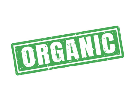 Organic in green stamp style, white background