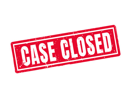 Case closed in red stamp style, white background Çizim