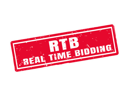 bidding: Real time bidding in red stamp style, white background Illustration