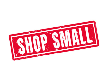 Shop small in red stamp style