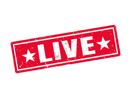 live in red stamp style, white background