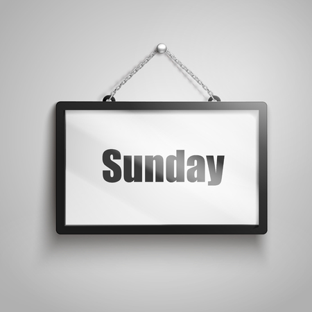 Sunday text on hanging sign, 3d illustration