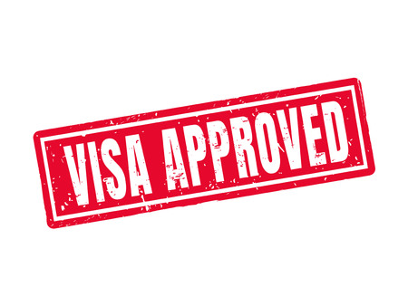 Visa approved in red stamp style Ilustracja