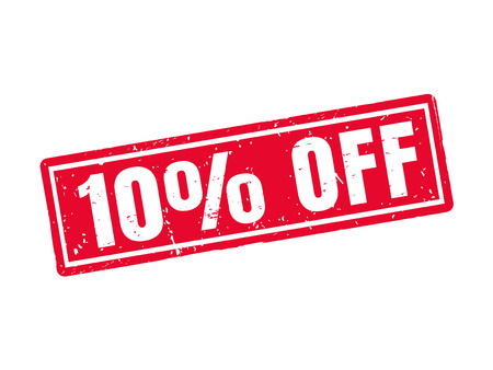 10 percent off in red stamp style Illustration