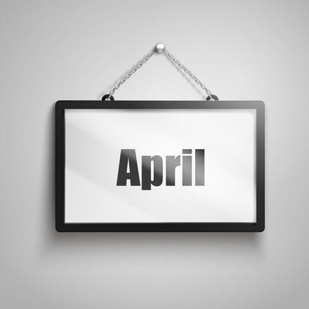 April text on hanging sign, 3d illustration 向量圖像