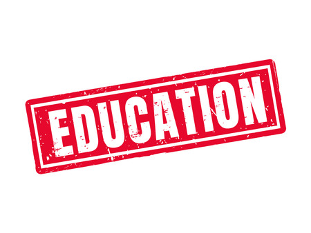 Education in red stamp style