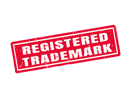 registered trademark in red stamp style, white background Иллюстрация