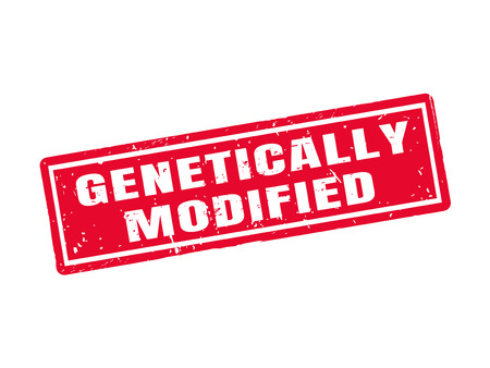 Genetically modified in red stamp style