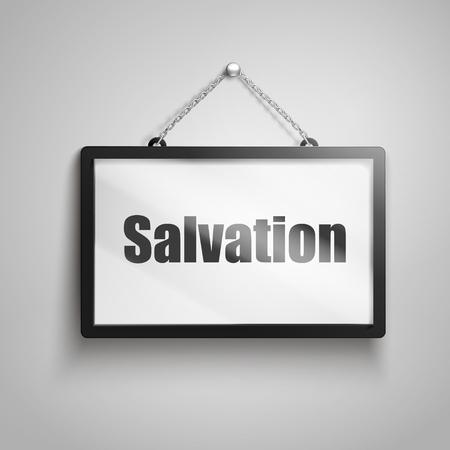 Salvation text on hanging sign, 3d illustration