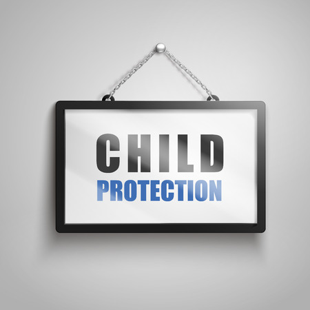 Child protection text on hanging sign, 3d illustration
