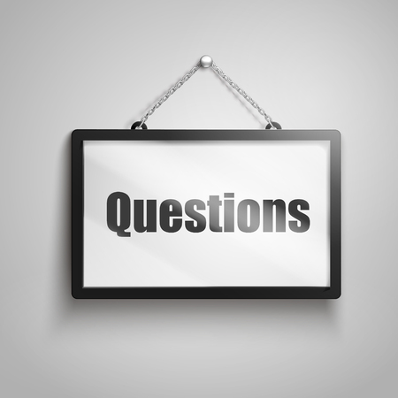 Questions text on hanging sign, 3d illustration Illustration