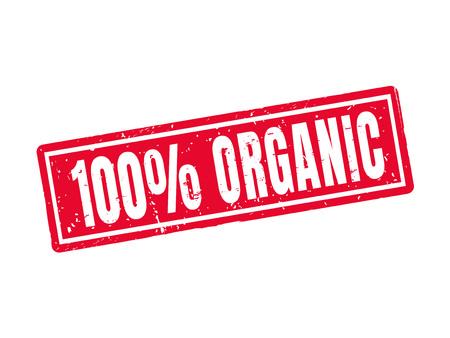 100% オーガニック赤スタンプ スタイルで  イラスト・ベクター素材