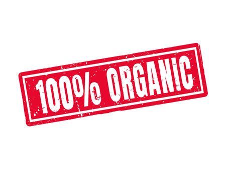 100 procent organisch in rode stempelstijl