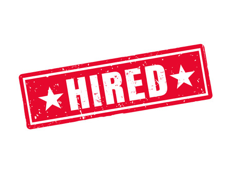 Hired in red stamp style Иллюстрация