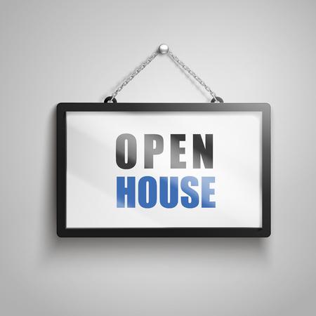 Open house text on hanging sign, 3d illustration Illustration