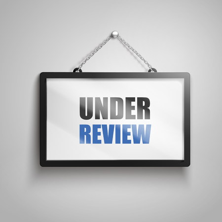 Under review text on hanging sign, 3d illustration Иллюстрация