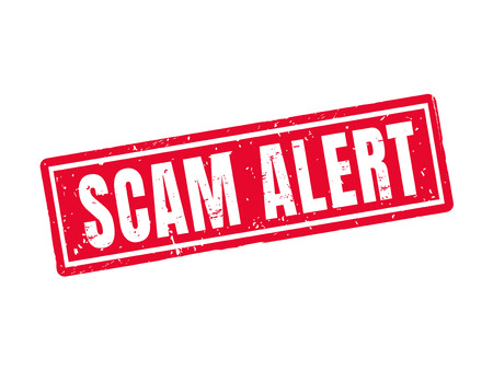 office theft: Scam alert in red stamp style