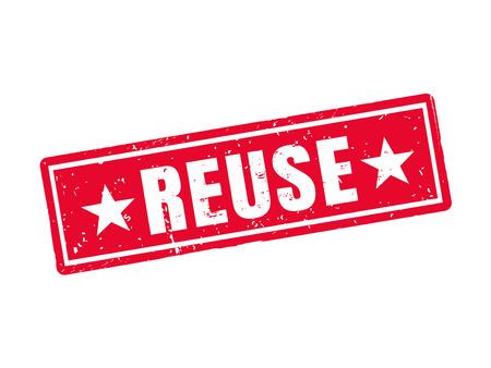 Reuse in red stamp style Illusztráció