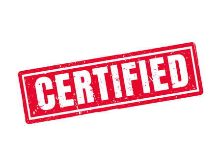 certified in red stamp style, white background Çizim