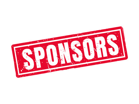 sponsors in red stamp style, white background