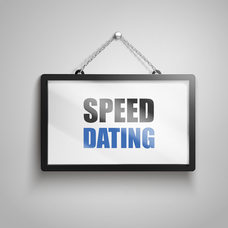 speed dating text on hanging sign, isolated gray background 3d illustration