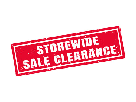storewide sale clearance in red stamp style, white background