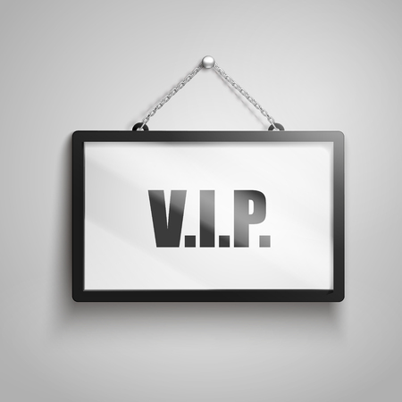 very important people text on hanging sign, isolated gray background 3d illustration Illustration