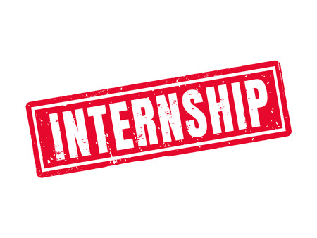 internship in red stamp style, white background