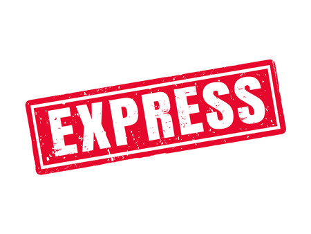 express in red stamp style, white background