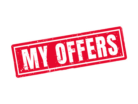 my offers in red stamp style, white background Illustration