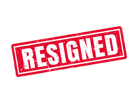 resigned in red stamp style, white background