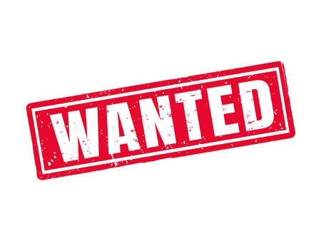 wanted in red stamp style, white background Illustration