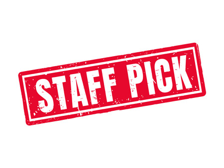 staff pick in red stamp style, white background Çizim