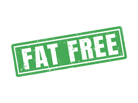 fat free in green stamp style, white background