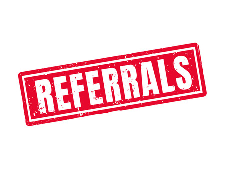 Referrals in red stamp style, white background