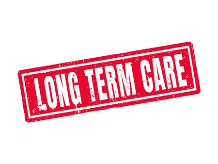 Langdurige zorg in rode stempelstijl, witte achtergrond