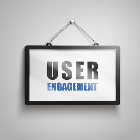 user engagement text on hanging sign, isolated gray background 3d illustration Illustration