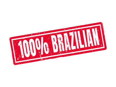 100 percent brazilian in red stamp style, white background