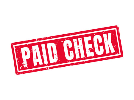 Paid check in red stamp style, white background