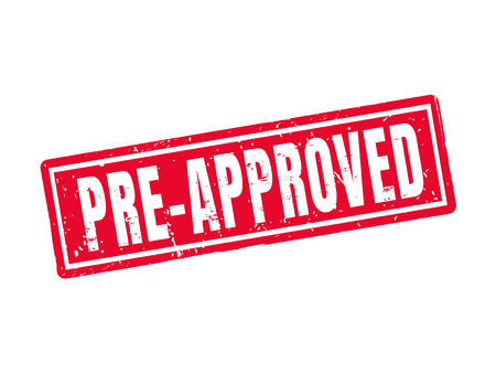 beforehand: Pre-approved in red stamp style, white background Illustration