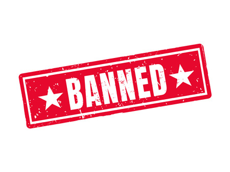 Banned in red stamp style, white background