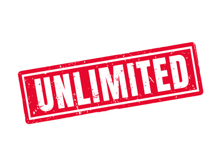 unlimited in red stamp style, white background