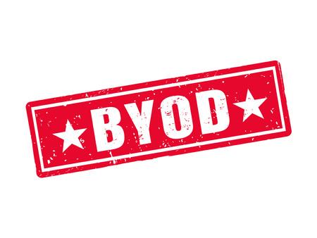 赤いスタンプ スタイルの Byod ホワイト バック グラウンド