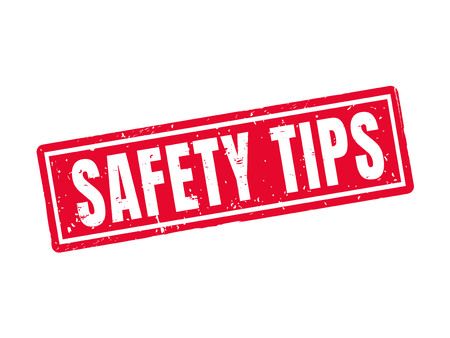 Safety tips in red stamp style, white background Illustration