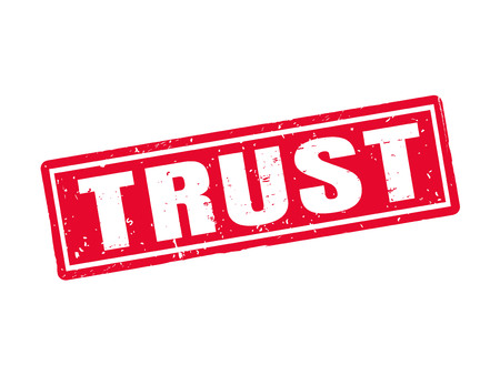 Trust in red stamp style, white background