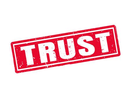 Vertrouwen in rode stempelstijl, witte achtergrond
