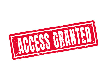 Access granted in red stamp style, white background